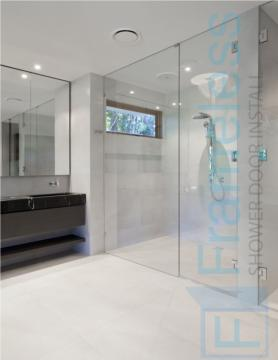 84 Custom Frameless Glass Enclosure Shower Door Installation stack panel 1