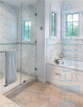 84 Custom Frameless Glass Enclosure Shower Door Installation stack panel 3